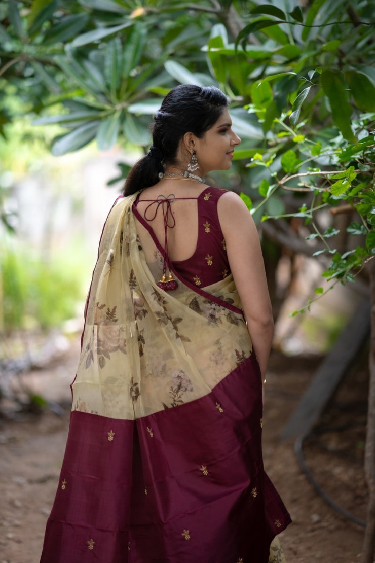 Half White Floral Organza Saree With Maroon Kanchi Silk Embroidered Pallu And Blouse