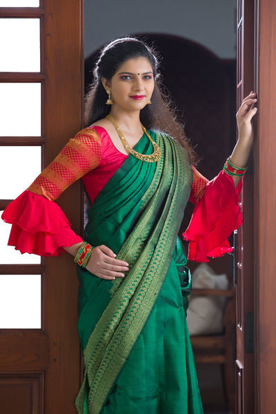 Bottle Green Kanchi Silk Saree with Grand Zari Border And Bottle Green  Pallu And Blouse