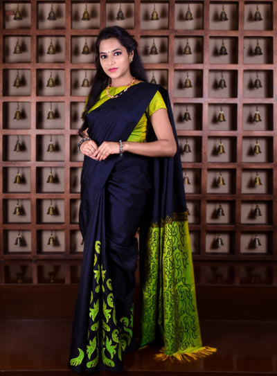 Black Kanchi Silk Saree With Avacado Green Pallu And Blouse With Applique Embroidery Design