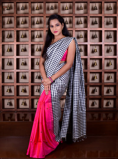 Black And White Checked And Pink Embroidered Half And Half Kanchi Silk Saree