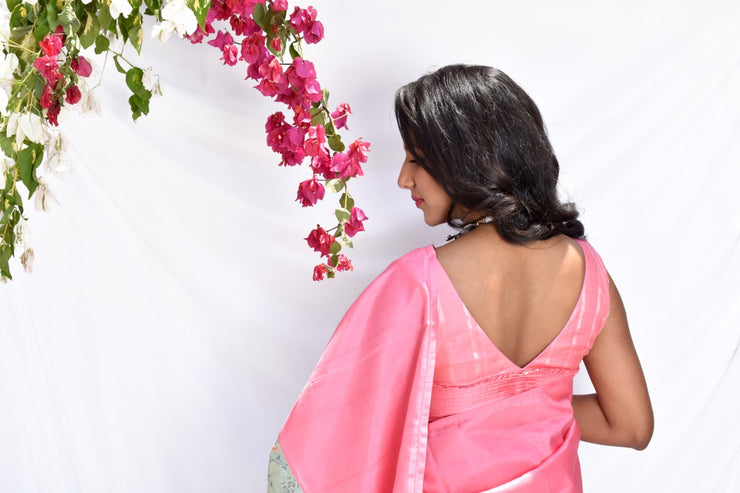 Pink Kanchi Silk With Pastel Green Embroidered Tussar Raw Silk Raising Saree