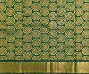 Fire Yellow  Kanchi Silk Saree With Bottle Green Animal  Butta Blouse