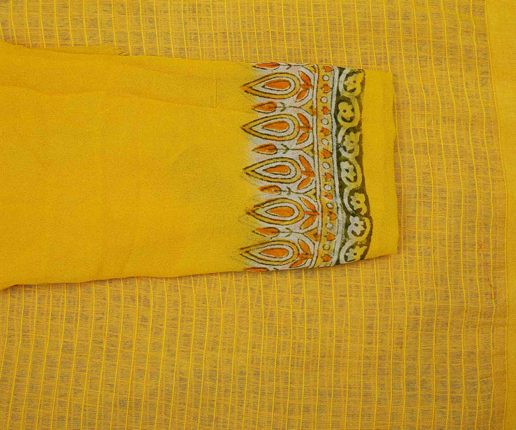 Yellow Net Organza Inskirt Saree