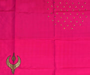 Black Kanchi Silk Saree with Hot Pink Pallu Crafted with Jewellery Banarasi Applique - With Blouse