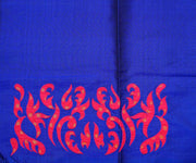 Royal Blue Kanchi Silk Saree Crafted with Hot Pink Kanchi Silk Applique In Border