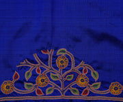 Ms Blue Kanchi Silk Saree Crafted with Kalamkari Applique and Hand Embroidery