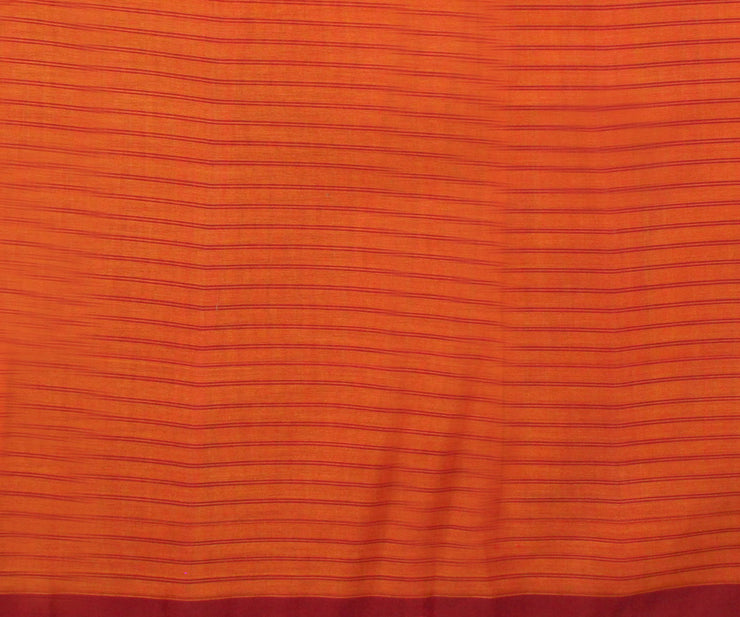 Orange And Mustard Colour Cotton Saree With Attached Blouse