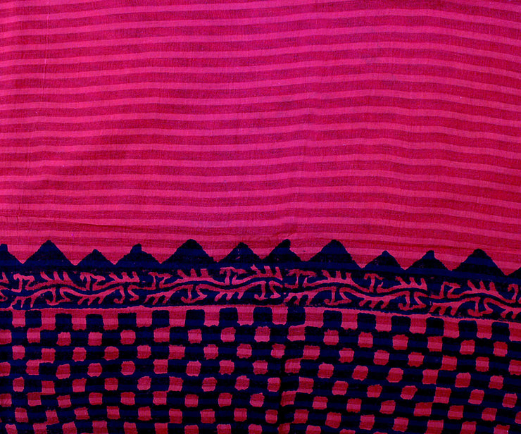 Off White Striped Cotton Saree With Red border and Magenta Blouse