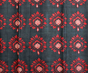 Black Floral Printed Tussar Saree With Violet Floral Pallu