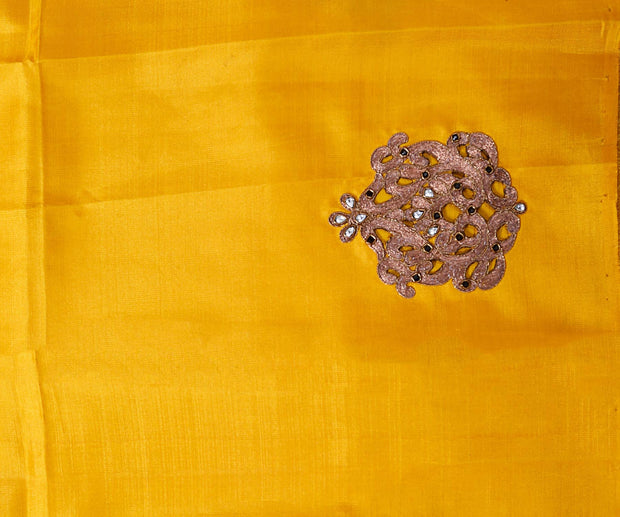 Black Kanchi Silk Saree with Yellow Pallu Crafted with Zari Load Embroidery