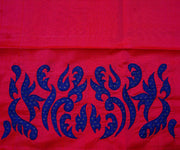 Hot Pink Kanchi Silk Saree Crafted with Ms Blue Kanchi Silk Applique In Border