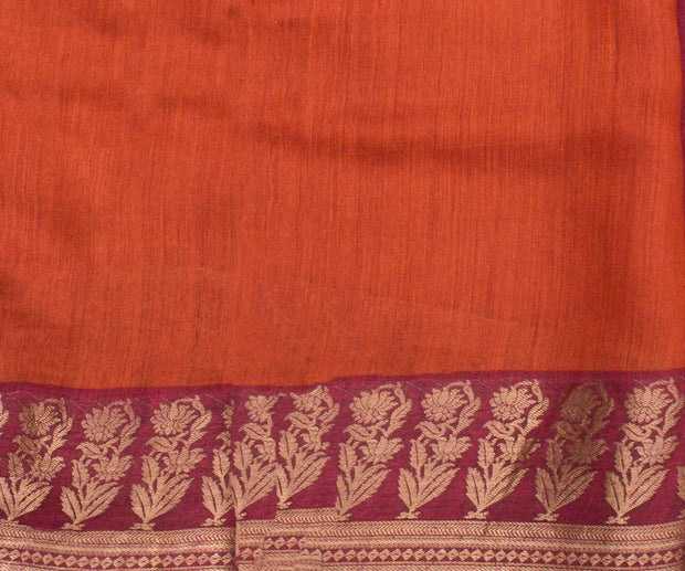 Red Tussar Saree with Camel Print and Zari Border and Attached Blouse