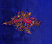Ms Blue Kanchi Silk Saree Crafted with Parrot Zardosi and French Knot Embroidery