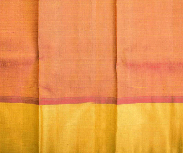 Yellow Checked Kanchi Silk Saree With Pink Blouse And Yellow Long Border