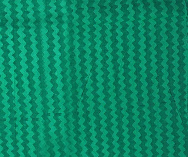 Ocean Green Zig Zag Bengal Cotton Saree With With Forest Green Blouse