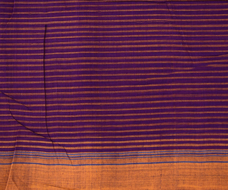 Mustard Mangalagiri Cotton Saree With Purple Striped Blouse