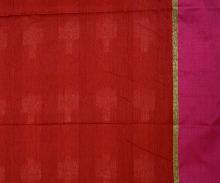 Red With Pink Border Chanderi Spun Saree And Attached Blouse