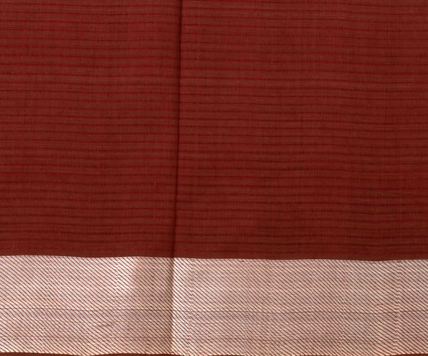 Brown mangalagiri cotton saree with silver zari border with blouse