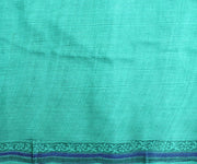 Off White Floral Printed Tussar Saree With Turquoise Blouse