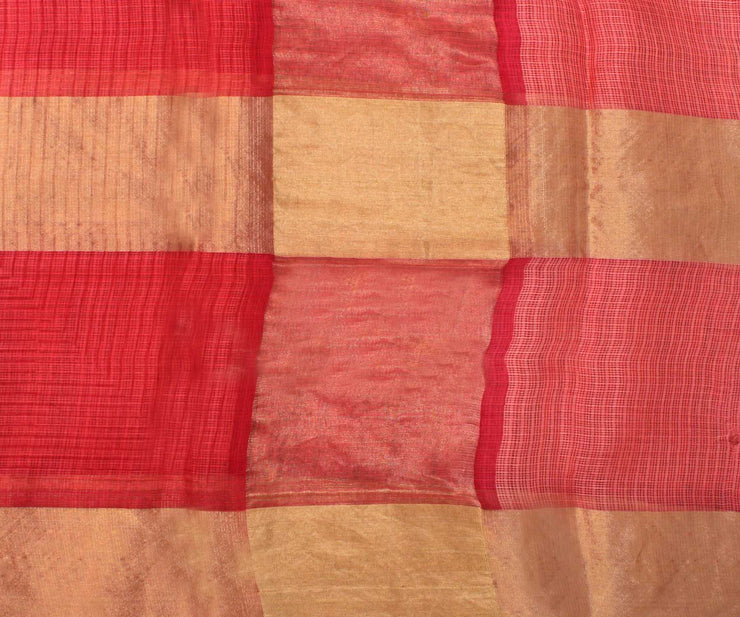 Reddish Pink Kota Silk Saree with Attached Blouse