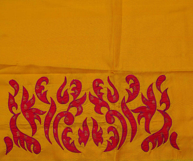 Yellow Kanchi Silk Saree Crafted With Hot Pink Kanchi Silk Applique In Border