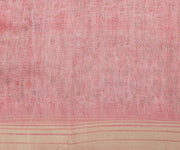 Pink Linen Saree with Floral Print