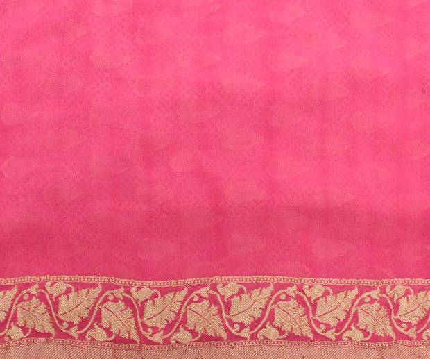 Pink Printed Banarasi Saree with Blouse