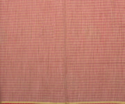 Red Checked Cotton Saree with Peacock Gold Print - Attached Blouse