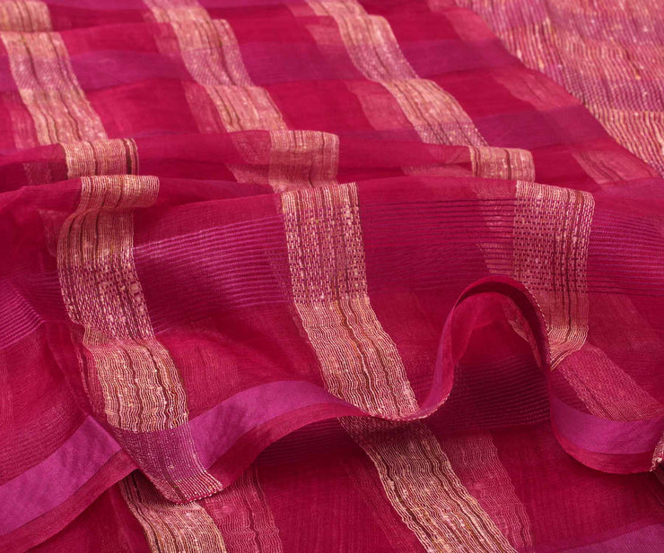 Red Jute Saree with Attached Blouse