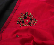 Black Kanchi Silk Saree with Red Pallu Crafted with Bullion Knots Floral Embroidery - With Blouse