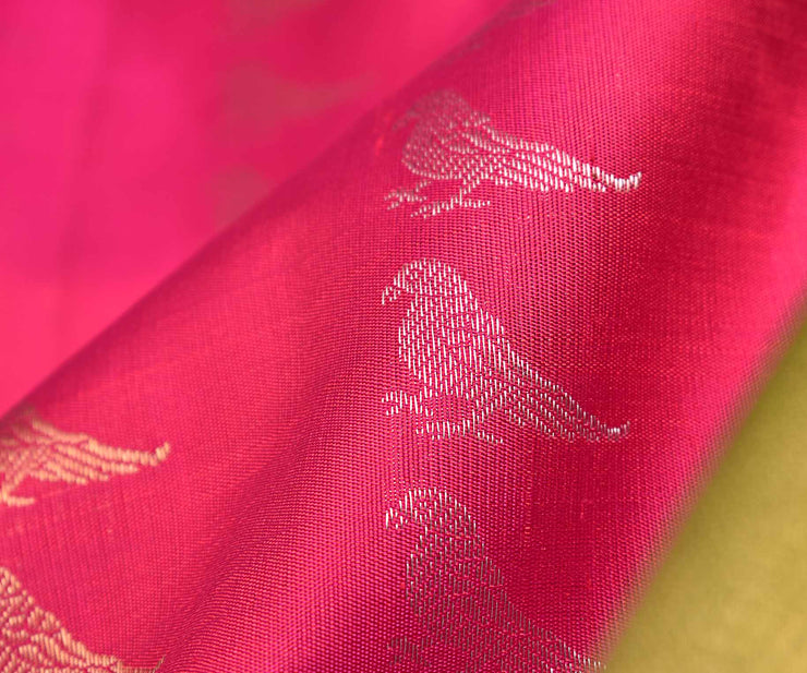 Magenta Pink Double Shaded Kanchi Silk Saree With Avocado Green Blouse
