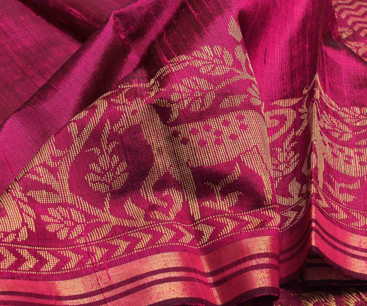 Magenta Raw Silk Saree - With Blouse