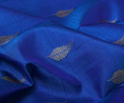 Royal Blue Kanchi Silk Saree with Leaf Zari Buttas and Attached Blouse