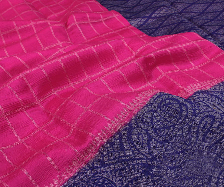 Pink and Blue Banarasi Chiffon Saree with Attached Blouse