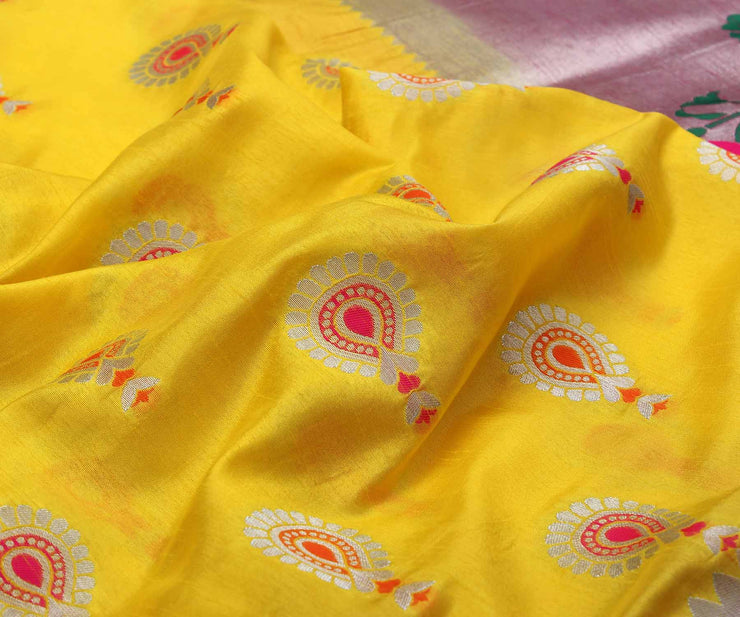 Yellow Banarasi Saree With Attached Blouse