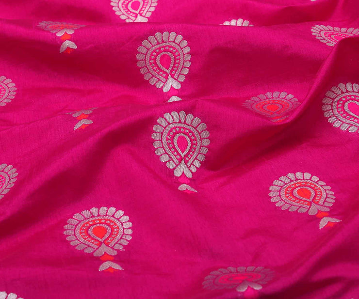 Ruby Banarasi Saree with Attached Blouse