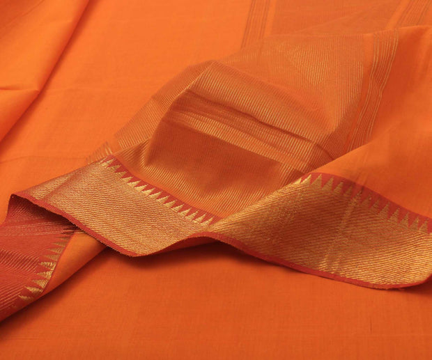 Orange with Red Cotton Saree - With Blouse