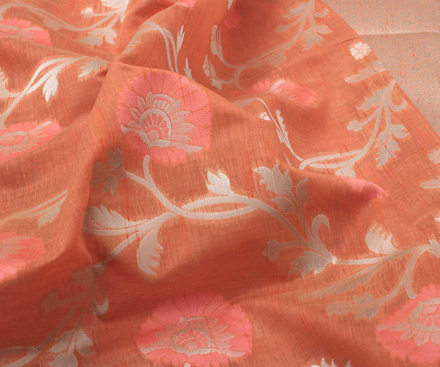 Orange Banarasi Saree with Attached Blouse