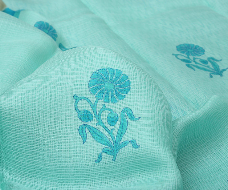 Sky Blue Kota Silk Saree with Attached Blouse