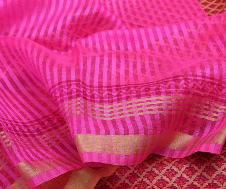 Pink Kota Silk Saree With Attached Blouse