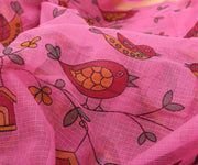 Pink Kota Saree with Birds Print - With Blouse