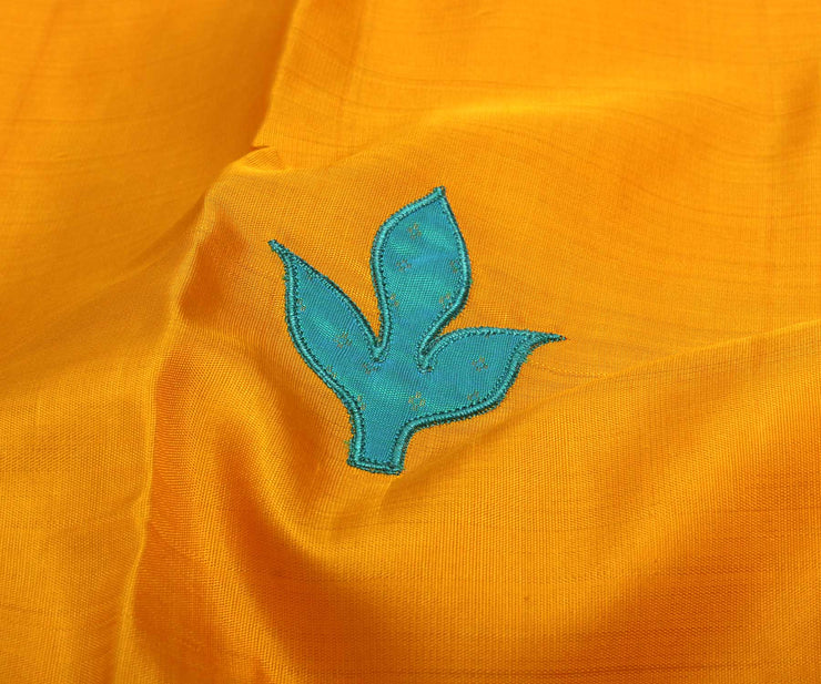 Yellow Kanchi Silk Saree Crafted With Single Pleat Leaf Appilque and Turquoise Blue Pallu