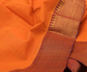 Orange With Purple Cotton Saree-With Blouse