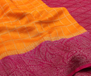 Orange and Pink Banarasi Chiffon Saree with Attached Blouse