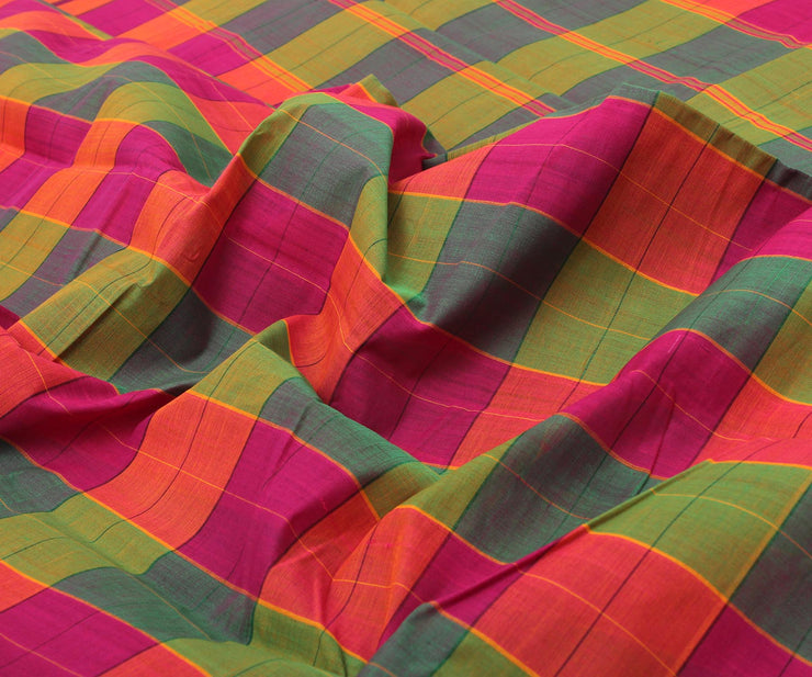 Multi Colour Checked Cotton Saree with Attached Blouse