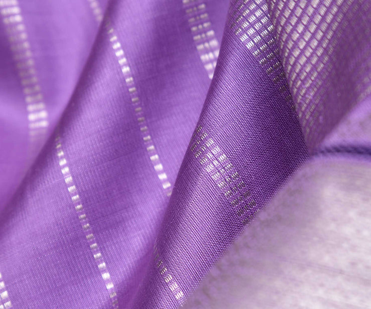 Lavender Kanchi Silk Saree With Highlighted  Silver Border