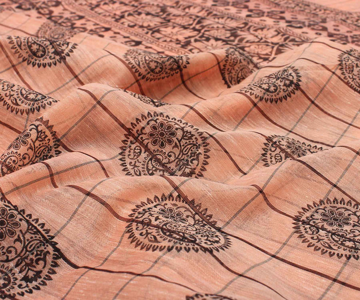 Peach Printed Linen Saree with Silver Border and Blouse