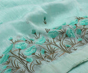 Pastel Green Linen Saree with Embroidery and Attached Blouse