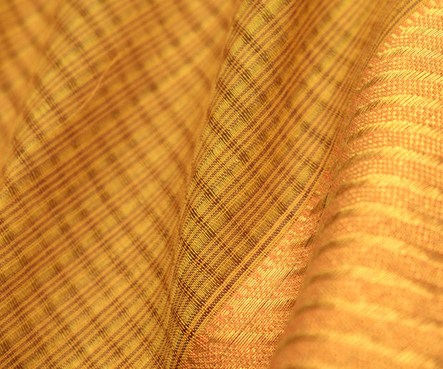 Honey mangalagiri cotton saree with orange gold zari border with blouse