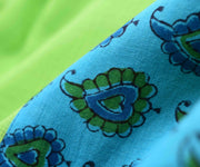 Parrot Green Kora Saree With Sky Blue Floral Printed Cotton Blouse